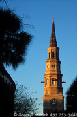 CHARLESTON, SOUTH CAROLINA. Light of sunset on spire of St. Phillip's Episcopal Church. Church built c. 1838.