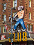 ELY, NEVADA. USA. Giant miner on facade of Nevada Club hotel and casino.