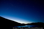UTAH. USA. Constellation Cassiopeia and other stars above East Canyon Reservoir at dusk. Wasatch Mountains.