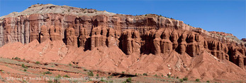 CAPITOL REEF NATIONAL PARK, UTAH. USA. Mummy Cliff. Eroded columns of Moekopi Formation.