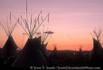 UTAH. USA. Festival of the American West. Tipis at dusk. Cache Valley.