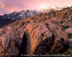 UTAH. USA. Quartzite boulders below clearing storm on Willard Peak. Wasatch Mountains.
