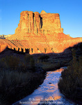UTAH. USA. Light of sunset on unnamed butte above Muddy Creek. Muddy Creek BLM Wilderness Study Area. San Rafael Swell.