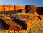 CANYONLANDS NATIONAL PARK, UTAH. USA. Sandstone slabs & pre-historic Anasazi (Ancestral Puebloan) tower. Fort Bottom along Green River.