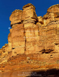 CANYONLANDS NATIONAL PARK, UTAH. USA. Moon & sandstone cliffs. Stillwater Canyon of the Green River.