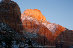 ZION NATIONAL PARK, UTAH. USA. Light of winter sunset on East Temple. Zion Canyon.