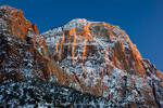 ZION NATIONAL PARK, UTAH. USA. Light of winter sunset on Bridge Mountain. Zion Canyon.