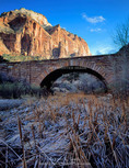 ZION NATIONAL PARK, UTAH. USA. East Temple rises above frosted cattails & bridge over Pine Creek (built by CCC).