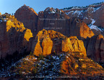 ZION NATIONAL PARK, UTAH. USA. Cliffs at sunset. Kolob Canyons.