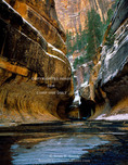 ZION NATIONAL PARK, UTAH. USA. Ice & snow at The Subway. Left Hand Fork, Great West Canyon.