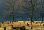 BUFFALO NATIONAL RIVER, ARKANSAS. USA. Old cemetery at sunrise in early spring. Boxley Valley near Buffalo River.