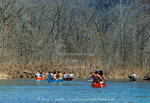 BUFFALO NATIONAL RIVER, ARKANSAS. USA. Canoeing traffic jam. Canoes on popular section of Buffalo River during college spring break.