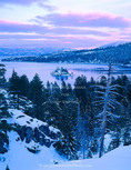 EMERALD BAY STATE PARK, CALIFORNIA. USA. Emerald Bay in winter at dusk. Lake Tahoe.