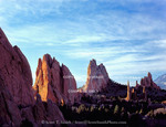Garden of the Gods, Colorado Springs, Colorado.A USA. Morning light on sandstone pinnacles below cirrostratus clouds.