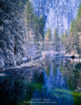 Yosemite National Park, California. USA. Fresh snow along Merced River. Yosemite Valley. Sierra Nevada.