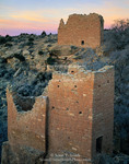 Hovenweep National Monument, Colorado. USA. Great House (upper) & Holly House (lower) at dawn. Ancestral Puebloan structures built ca. AD 1200 at head of Keeley Canyon. Colorado Plateau.
