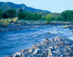 Arizona. USA. Rounded stones along Blue River at sunrise in the Blue Range on edge of Blue Range Primitive Area. Apache National Forest.