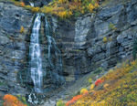 Utah. USA. Bridal Veil Falls in autumn. Provo Canyon. Wasatch Mountains. UInta-Wasatch-Cache National Forest.