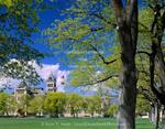 "Utah State University. Logan, Utah. USA. Trees along ""The Quad"" frame Old Main Building."