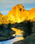 Smith Rock State Park, Oregon. USA. Christian Brothers Wall above Crooked River at sunrise. Walls of welded tuff.