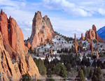 Garden Of The Gods. Colorado Springs, Colorado. USA. Sandstone pinnacles. Cathedral Rock is in center.