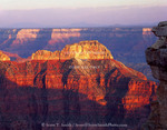 Grand Canyon National Park, Arizona. USA. Mencius Temple at sunset. View from near Point Sublime. North Rim of Grand Canyon.