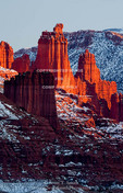 Utah. USA. Fisher Towers in winter.