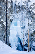 Yellowstone National Park, Wyoming. USA. Ice and snow at Fairy Falls in winter.