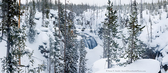 Yellowstone National Park, Wyoming. USA. Kepler Cascades and deep snow along Firehole River in winter.