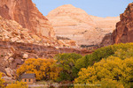 Capitol Reef National Park, Utah. USA. Historic Fruita Schoolhouse in Fremont River Canyon at dusk in autumn. Capitol Dome in distance.