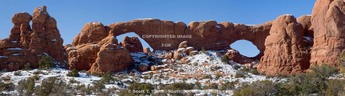 "Arches National Park, Utah. USA. ""The Spectacles"", North and South Windows viewed from the east."