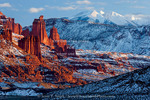 Utah. USA. Fisher Towers and La Sal Mountains in winter.