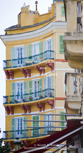 Corsica. France. Europe. Colorful apartment building in Bastia.