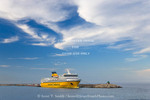 Corsica. France. Europe. Ferry below cirrus clouds at New Port in Bastia. Corsica/Sardinia Ferries.