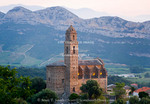 Corsica. France. Europe. Church in village of Patrimonio.