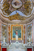 Corsica. France. Europe. Altar & apse in church of St. Julie in village of Nonza. Cap Corse.