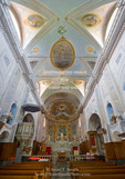 Corsica. France. Europe. Interior of church of St. Julie in village of Nonza. Cap Corse.