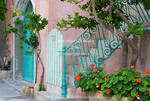 Corsica. France. Europe. Entrance to house in fishing village of Centuri (also called Camera). Cap Corse peninsula in northern Corsica.