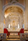 Corsica. France. Europe. Interior of Cathedral of Nebbio (church of Santa Maria Assunta) near St. Florent. Cathedral was built by Pisans in 12th Century.