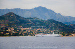 Corsica. France. Europe. Cruise ship at anchor off the coast at Ile Rouse.