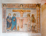 Corsica. France. Europe. Fresco in church in old city section of Calvi.