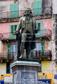 Corsica. France. Europe. Statue of Corsican leader Pascal Paoli in Corte.