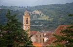Corsica. France. Europe. Church steeple in Corte.