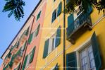 Corsica. France. Europe. Colorful apartment buildings in Ajaccio.