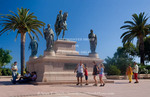 Corsica. France. Europe. Visitors and statue of Napoleon at Place De Gaulle (De Gaulle Square). Ajaccio.