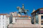 Corsica. France. Europe. Statue of Napoleon at Place De Gaulle (De Gaulle Square). Ajaccio.