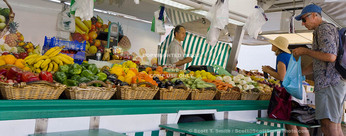Corsica. France. Europe. Tourists at market in Ajaccio.