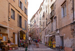 Corsica. France. Europe. Narrow street in old town of Bonafacio within the walls of the citadel.