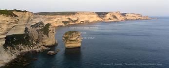 Corsica. France. Europe. View of white limestone cliffs & the Mediterrean Sea from Bonifacio.