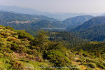Corsica. France. Europe. View of Chiuvone River valley from Col de la Vaccia.